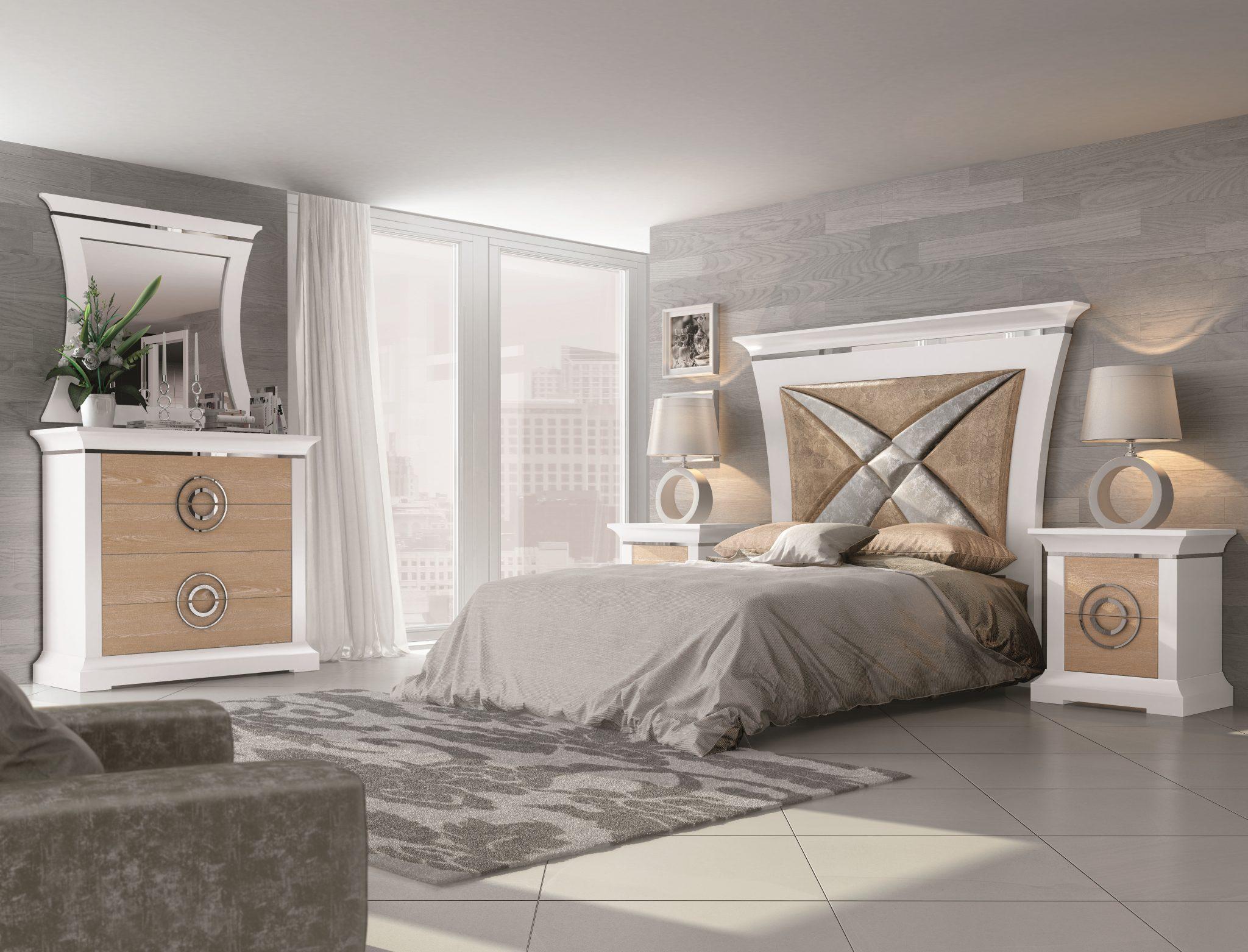 GRP-SPJ Dormitorio PREMIUM - Blanco, Roble Snow, Cromo, Fantasía círculos Oro yTiguer 9 (página 34) Variante 03 ALTA