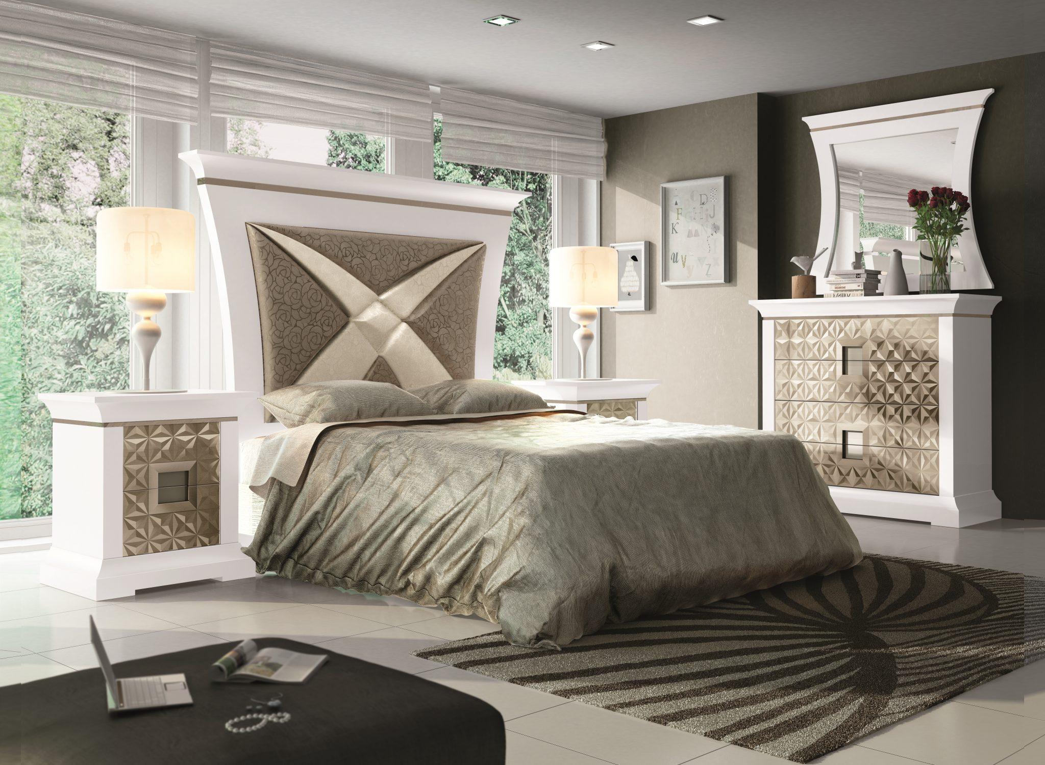 GRP-SPJ Dormitorio PREMIUM - Lacado Blanco, Plara anticuariol, Cromo, Fantasía círculos plata y Tiguer 21 (Página 34 - Variante 05) ALTA (espejos)