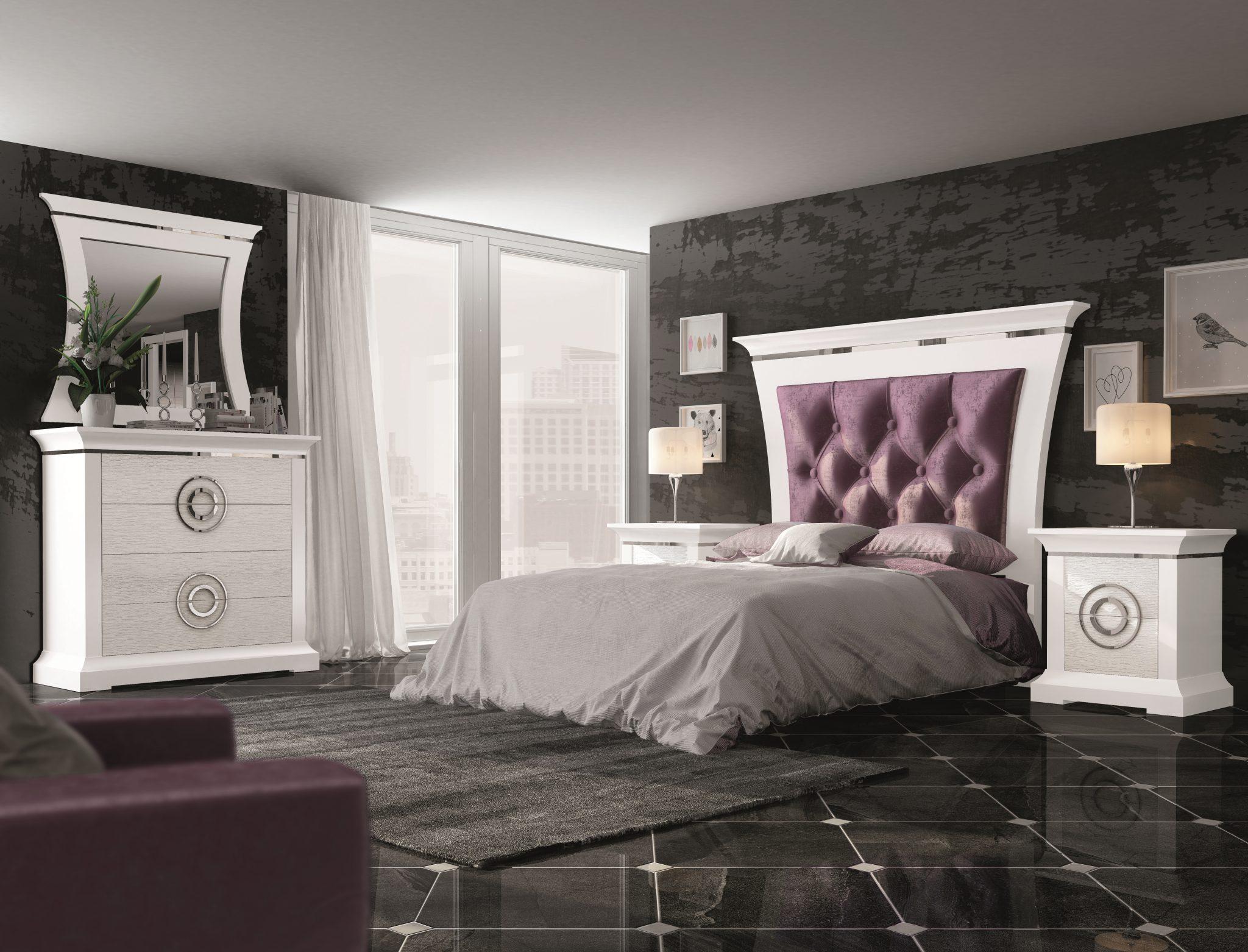 GRP-SPJ Dormitorio PREMIUM - Lacado Blanco, Roble Patinado Gris, Cromo y Brunei 29 Lila (Página 34 - Variante 06) ALTA