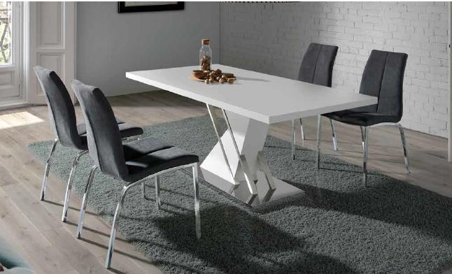mesa 446 de 160x90cm acero-blanco brillo anvk