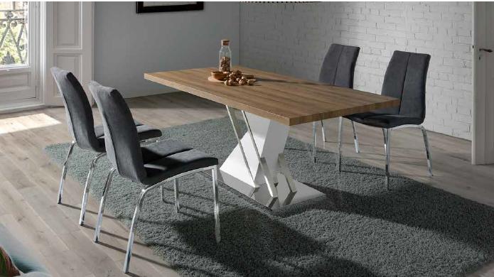 mesa 446 de 160x90cm acero-blanco brillo-roble anvk